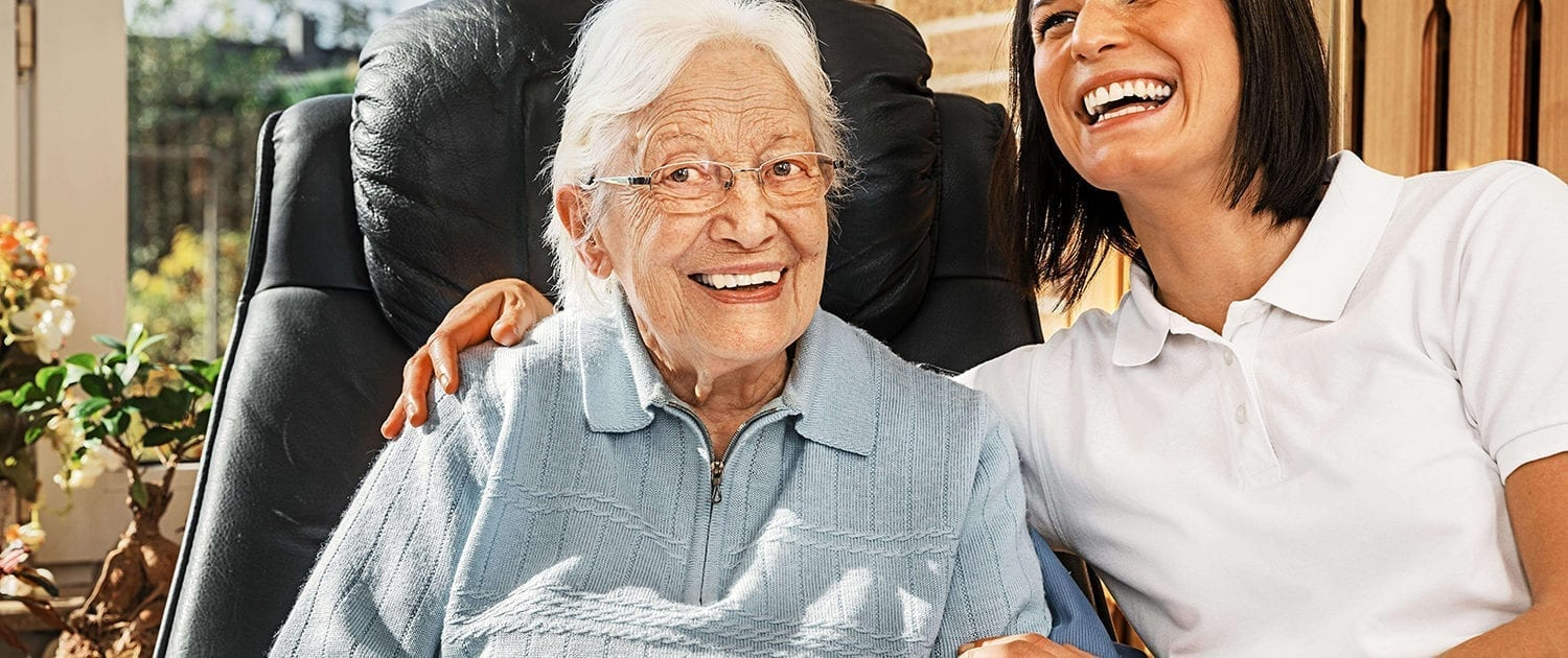 aged care worker with elderly lady