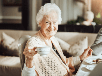 elderly lady with cuppa